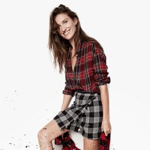 Madewell Small Central Tartan Plaid Top red